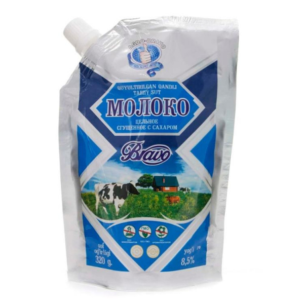 Сгущённое молоко Agro Bravo дойпак 500гр