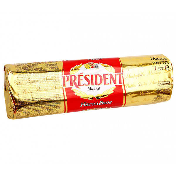 Масло сливочное President 82%, (1000гр)