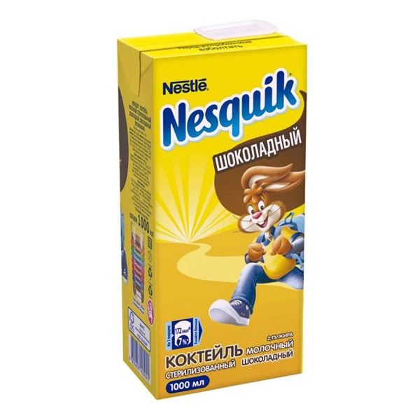 Коктейль в ассор. шоколадный, со вкусом клубники/банана Nesquik (1л)