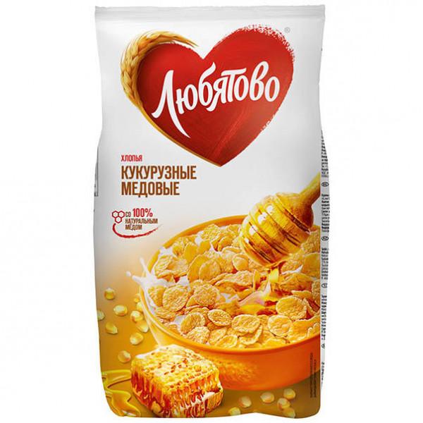 Готовый завтрак Любятово Хлопья медовые 250гр м/у