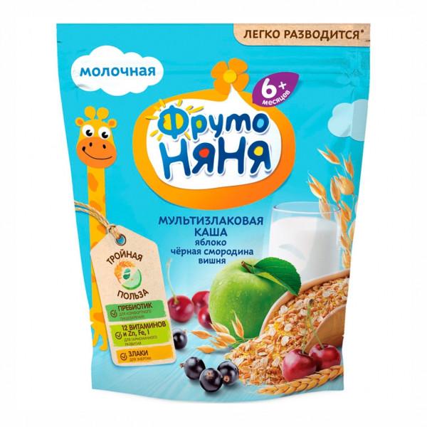 Каша ФрутоНяня молочная мультизлаковая с яблоком бананом и земляникой с 6 мес