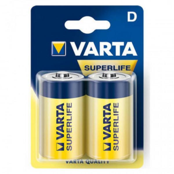 Батарейка Varta SUPER LIFE R20 D BL2 Heavy Duty 1.5V