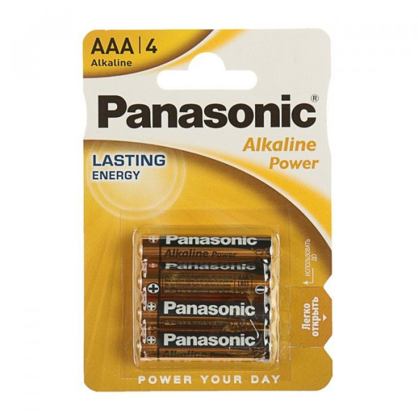 Батарейка   Panasonic Alkaline Power, AAA, LR03-4BL, 1.5В,