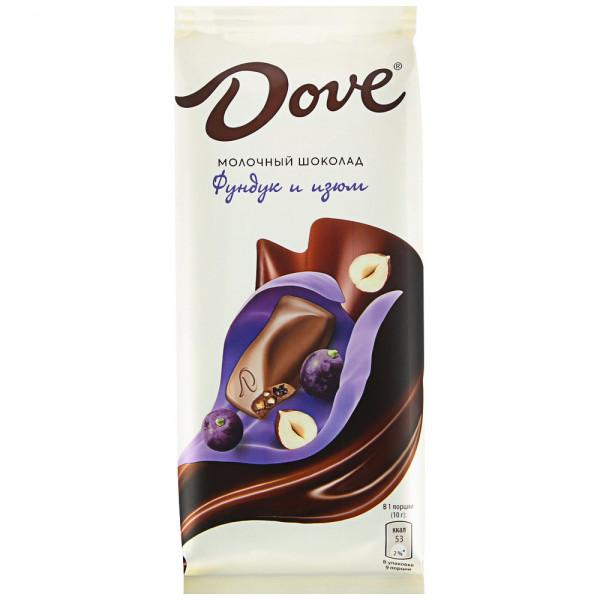 Шоколад молочный Dove Фундук и изюм 90гр