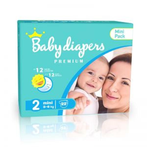 Детские подгузники Baby Diapers Premium MINI No2 (3-6 kg) 22шт