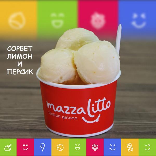Мороженое Сорбет Лимон Персик (1 шарик)