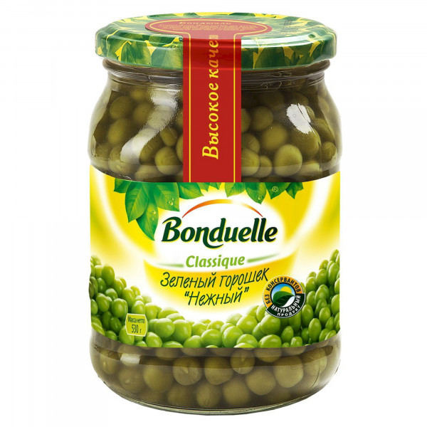 "Bonduelle "" Зеленый Горошек Нежный"" 530г с/б"