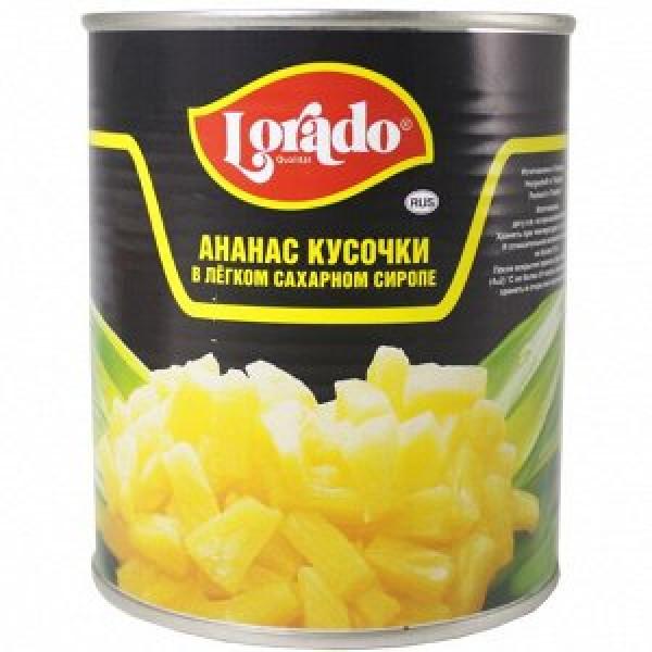 ананас кусочки легком сиропе lorado 580 гр